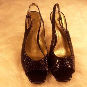 Anne Klein peep toe slingback heels patent 8.5 m